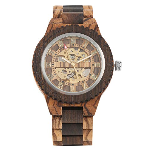 Vintage Automatik-Automatik-Uhr für Herren, kreatives schwarzes Ebenholz und Zebra-Holz mechanische Uhren für Männer, Exquisite goldene römische Ziffernblatt Armbanduhr für Jungen