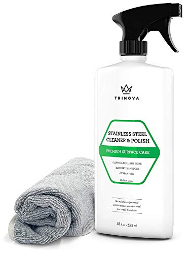TriNova Premium Stainless Steel Cleaner and Polish - for Commercial Refrigerators with Microfiber Cleaning Cloth. Cleaning Spray for Appliances, Fridge, Microwave Oven, Kitchen. 18oz