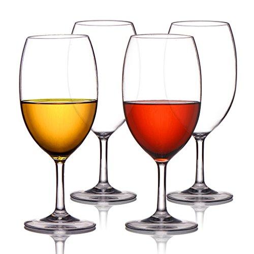 MICHLEY Unbreakable Wine Glasses, 100% Tritan Plastic Shatterproof Large Wine Glasses 20 oz, Set of 4