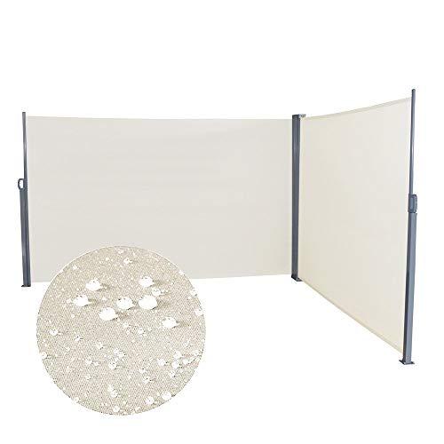 Aufun Seitenmarkise Ausziehbar 160 x 600 cm Doppel Sonnenschutz aus Polyester Sichtschutz Windschutz Markise für Balkon Terrasse Garten Camping, Beige