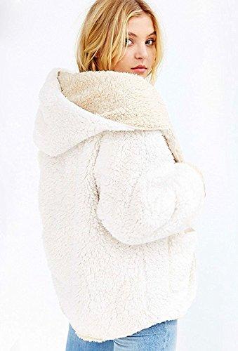 Choies Women's Beige Junior Batwing Sleeves Cute Faux Fur Winter Hooded Cardigan Coat M