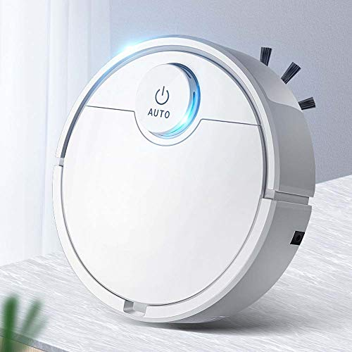LOadSEcr Robot Vacuum Cleaner, ES300 3 in 1 Rechargeable Automatic Smart Cleaner Sweeper Suction Dust Remover for Cleaning Pet Hair, Hard Floor and Low Pile Carpet White Dining Features Kitchen Robotic Vacuums