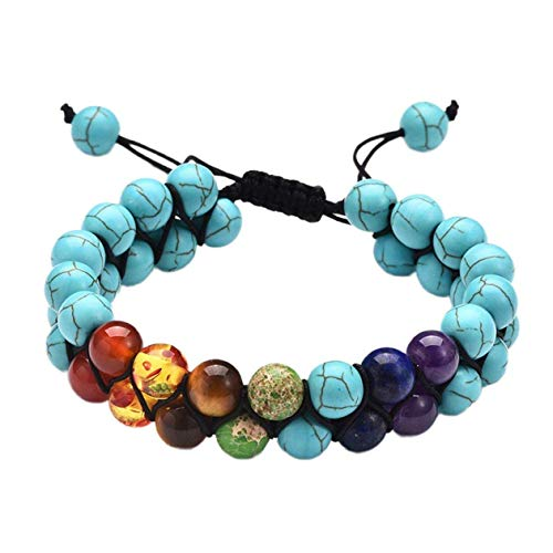 Uymkjv Armband män naturliga kosmiska yoga solchakra armband kvinnliga herr gåva blå