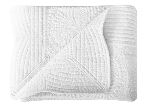 Lullaby Kids Infant Blankets All Weather Lightweight Embossed Baby Quilt, White