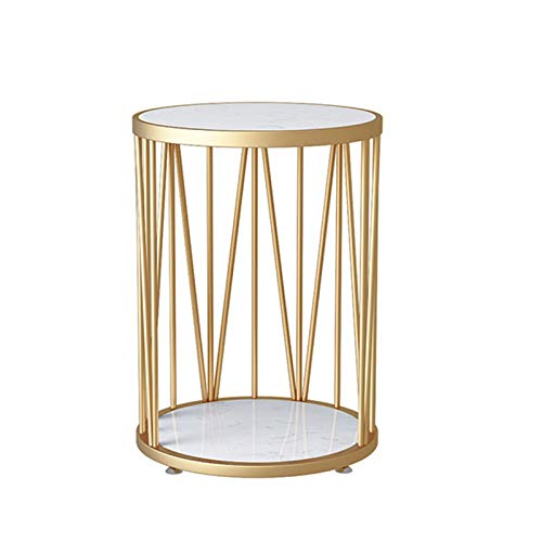 Tables JUAN Nordic 2 Tier Side, Small Space Mini Small Round, Living Room Balcony Coffee, Marble And Gold Metal Frame, 2 Sizes (Color : White, Size : 35x60CM)