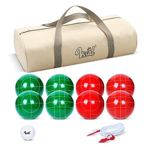 VSSAL Bocce Ball Set 90mm for Backyard Lawn Beach Outdoor Family Bocci Yard Game for Kids, Set of 8 Polyresin Bochie Balls, 1 Pallino, Carrying Bag, Measuring Rope (Red and Green, 2-8 Players)
