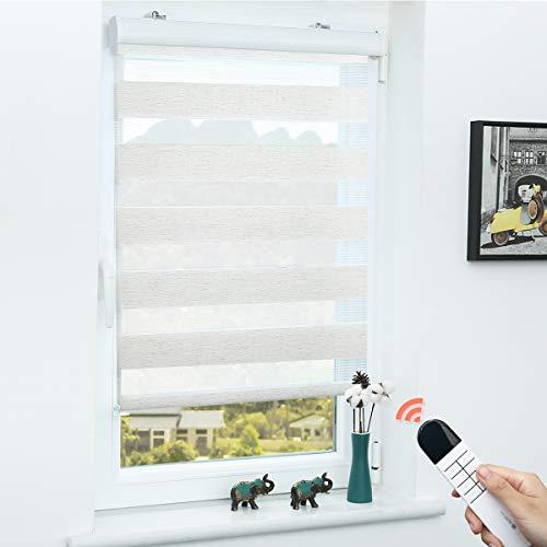 Grandekor Doppelrollo Klemmfix Rollo elektrisch ohne Bohren, 60x150cm (BxH) Leinen, Elektrisches Duo Rollo mit Kassette Sonnenschutz für Fenster und Tür für Wohnzimmer Kinderzimmer