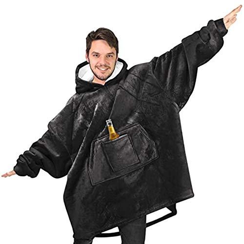KPII Manta Sudadera con Capucha, Mantas Super Soft Warm Home Sweatshirt, Suave y Acogedora TV Hoodie,Negro,One