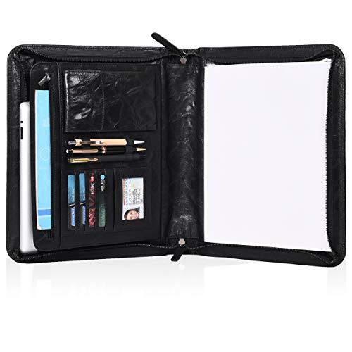Leather Portfolio for Men and Women - Multi Pocket Zippered Padfolio Folder (Black Crumbled)