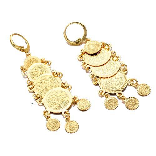 Arab Dubai Metal oro color moneda pendientes para las mujeres chica de Oriente Medio Africano borla joyería regalo