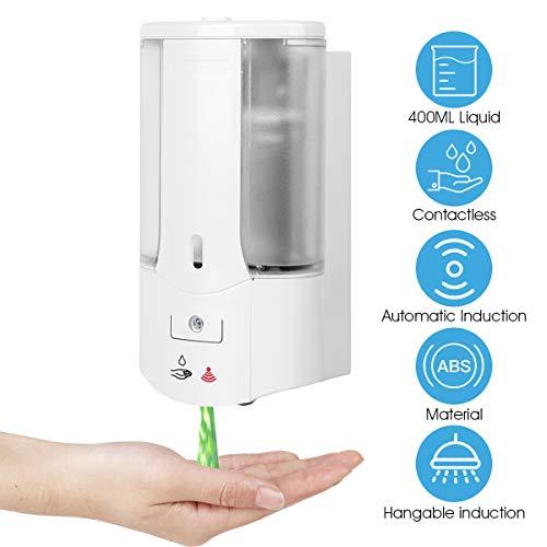 Dispensador Automático de Jabón Líquido Montado en pared Sin Contacto, Dispensador de Desinfectante de Manos Eléctrico de 400 ml con Sensor Adecuado para Cocina Oficina Hotel Baño (Blanco 2)