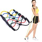 MEDIA MALL Chest Expander Resistance 8 Type Muscle Chest Expander Rope Workout Pulling Exerciser Fitness Solid Rubber Figure 8 Resistance Toning Tube (Multi-Color)
