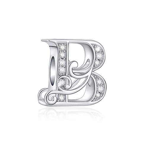 FOREVER QUEEN 925 Sterling Silver Letter Charms for Bracelets Alphabet Initial Beads Jewelry Gift for Women