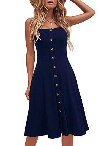 Berydress Women's Casual Beach Summer Dresses Solid Cotton Flattering A-Line Spaghetti Strap Button Down Midi Sundress (L, 6046-Navy)