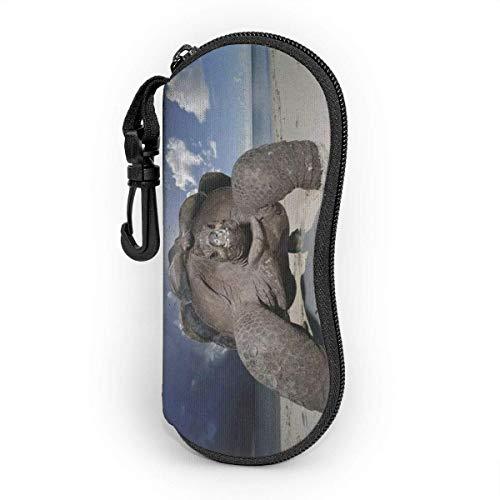 Sonnenbrille Brillenetui Schildkröte Tasche Kratzfest staubsichere Brillenbox mit Gürtelclip für Schlüssel, Bleistifte, Karten