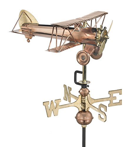 Good Directions Biplane Weathervane with Roof Mount, Pure Copper, Airplane Weathervanes, Aviation Décor