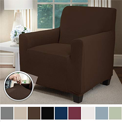 Sofa Shield Original Fitted 1 Piece Chair Protector, Seat Width up to 23 Inch, Stretch Furniture Slipcover, Fastener Straps, Spandex Chair Slip Cover Throw for Pets, Dogs, Armchair, Brown