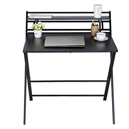 Folding Laptop Table, 2-Style Folding Desk for Small Space, Home Corner Desks Simple Computer Desk with Shelf //VECDUO (Black)