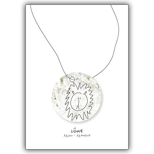 Wenskaarten met hoeveelheidskorting: Horoscoop felicitatiekaart voor iedereen die in het sterrenbeeld van de leeuwen geboren zijn • 1a wenskaart met envelop voor 1001 gelegenheid 16 Grußkarten