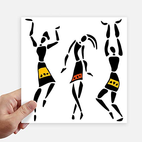 DIYthinker Autochtone Noir Totems Primitive Afrique Quadrille Autocollants 20CM Mur Valise pour Ordinateur Portable Motobike Decal 4Pcs 20cm x 20cm Multicolor