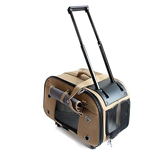 Carrito para mascotas con ruedas para viajes y exteriores, fácil de plegar, paneles de malla duraderos y alfombrilla de forro polar lavable