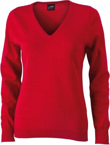James & Nicholson JN658 pullover donna scollo a V Red X-Small