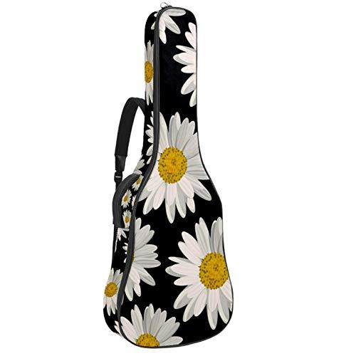 Bennigiry Blanco Margaritas Sobre Fondo Negro Bolsa de Guitarra Guitarra Acústica Bolsa de Guitarras Bolsa de Transporte para Guitarrista