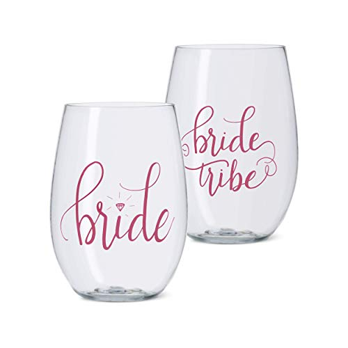 11 PIECE SET of Bride Tribe and Bride Durable Plastic Stemless Wine Glasses (Includes 10 Bride Tribe...