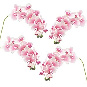 cn-Knight Tropical Artificial Flower 4pcs 28″ Long Stem Butterfly Orchid Big Size Lifelike Phalaenopsis Real Touch Moth Orchid for Wedding Bridal Home Décor Baby Shower Centerpiece(Light Pink)