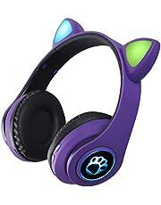 FEDBNET 2021 Auricolare Bluetooth con Orecchio di Gatto, Auricolare da Gioco Musicale Pieghevole con Orecchio di Gatto Colorato RGB, Auricolari con Cavo/Senza Fili Supporto TF Card