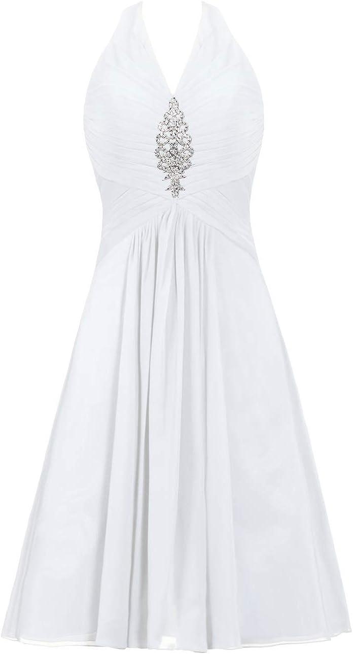 ANTS Women's Halter Prom Dress Short Chiffon Evening Cocktail Dress