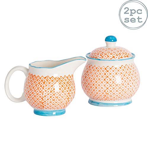 Nicola Spring Gemustertes Milchkanne 300 ml & Zuckerdose/Schüssel Set - Oranger/Blauer Aufdruck