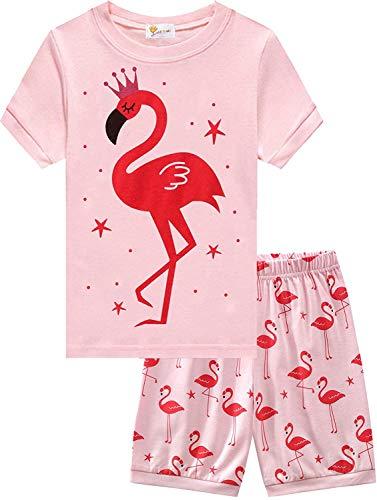 EULLA Mädchen Schlafanzug Kurzarm Nachtwäsche Baumwolle Kinder Frühling Sommer Bekleidung Pyjama Set Zweiteiliger Shorty Pyjama 2# Flamingo DE 122