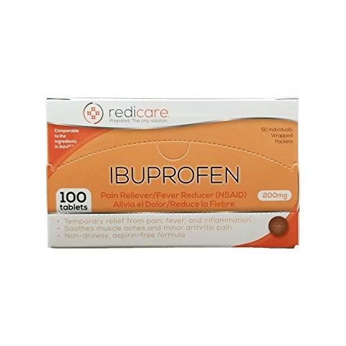 Ibuprofen 200mg Travel Packets with Dispenser Box - Great for First Aid Kit and workplaces - 50 Packets of 2