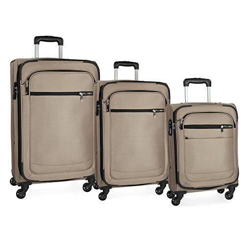 Roll Road Trail Juego de maletas Beige 55/67/76 cms Blanda Poliéster Cierre combinación 194L 4 Ruedas Equipaje de Mano