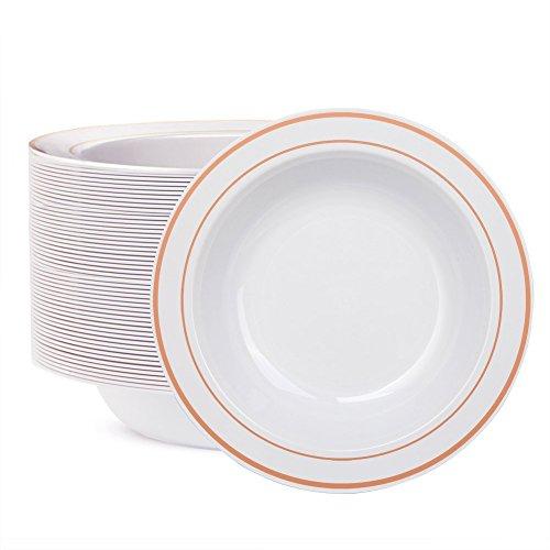 WDF 60pcs Disposable Plastic Bowls-12 oz Soup Bowls - Rose Gold Trim Real China Design - Premium Heavy Duty Plastic Plates for Wedding/Parties (Rose Gold Bowls)