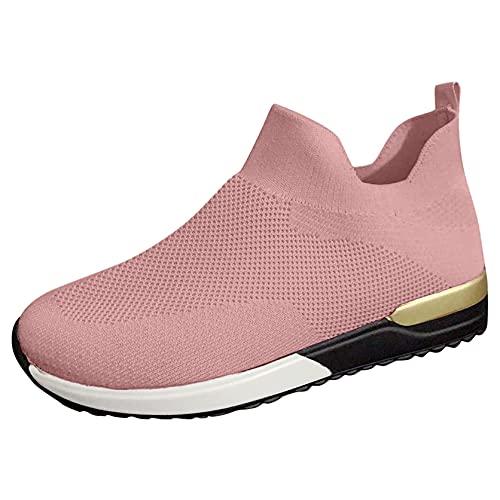 OHQ Zapatillas De Deporte para Mujer Transpirables Malla Sin Cordones Calzado Deportivo Antideslizante Zapatilla para Correr CóModo Y Elegante (Rosa, Numeric_39)