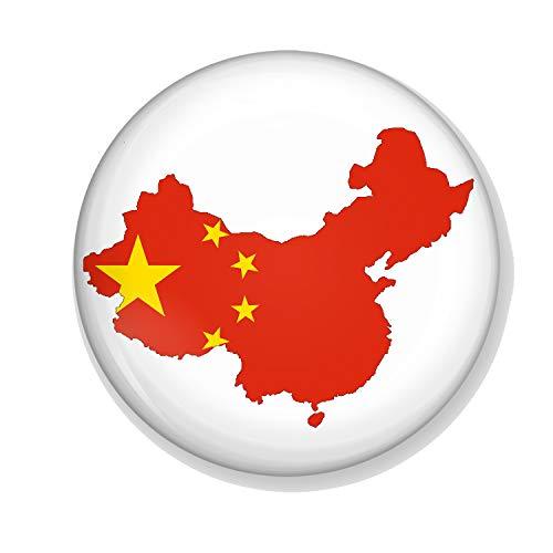 Gifts & Gadgets Co. Chinesische Flagge auf Karte Chinesische Anstecknadel 38 mm klein bedruckt rund