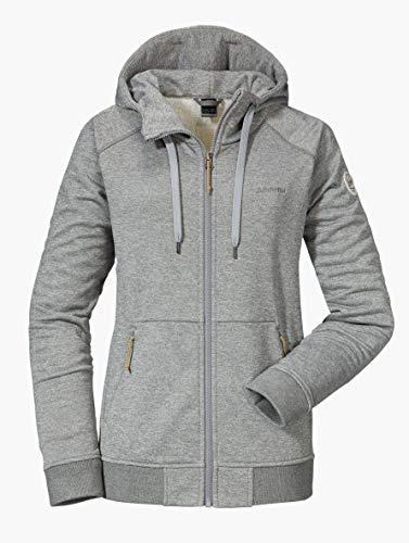 Schöffel Damen Hoody Akureyri L warme Kapuzenjacke mit Reißverschluss-Taschen, atmungsaktive Sweatjacke für Frauen in Melange Optik