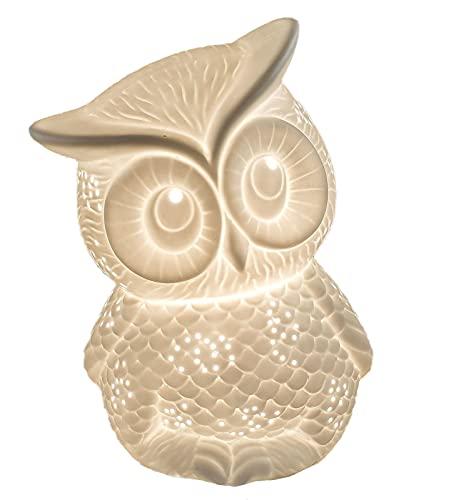 Formano Eule als Deko-Lampe Tischleuchte Nachttischlampe Nachttischleuchte Stimmungslampe Porzellan-Lampe Weiss 20cm