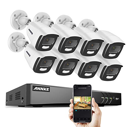 ANNKE 8CH 2K+ Super HD Color Night Vision Security Camera System Outdoor, 5MP Surveillance DVR with 8pcs IP67 CCTV Camera 100ft Night Vision, Remote Access & Smart Motion Alerts, No Hard Drive-S500