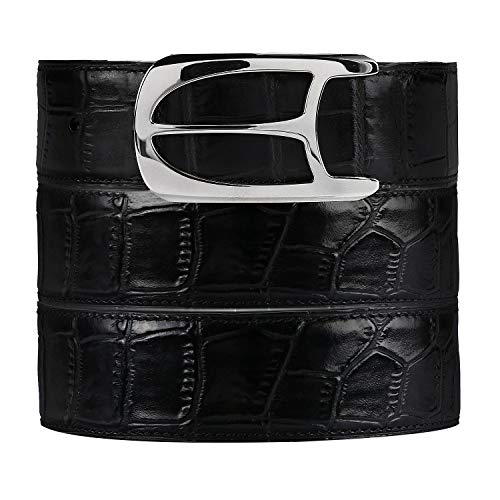 Men's Leather Belt, BURRELL Men's 100% Leather Jeans Belt Alligator Design Belt with Gift Box and Perforator, Best gifts for father husband