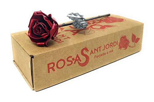 Rosa Forjada Edición Sant Jordi Roja y Plateada - Forjada a Mano