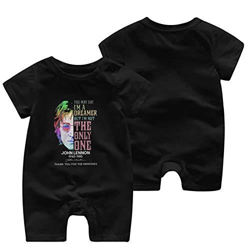 Jo-Hn Len-Non 1940-1980 12 Months Soft Loose Skin-Friendly Breathable Convenient Baby Short Sleeve Jumpsuit Black