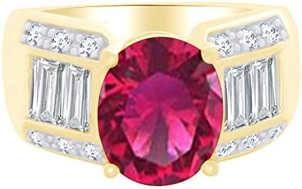 AFFY Oval Shape Simulated Ruby White Cubic Zirconia Solitaire Ring in 14k Yellow Gold Over Sterling product image