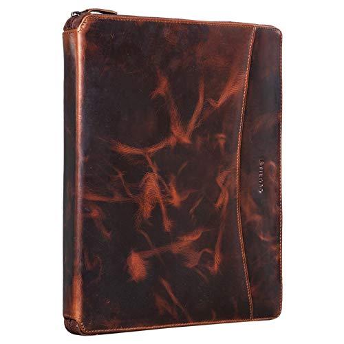 STILORD 'Dexter' Portadocumentos Cuero Bolsa Portátil 13,3' para MacBook Portafolios o Maletín Carpeta Conferencia Trabajo o Negocios Piel Auténtico, Color:Milano - marrón