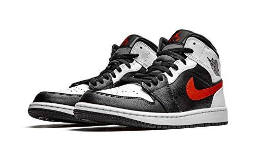 Nike Air Jordan 1 Mid, Zapatillas de bsquetbol Hombre, Black Chile Red White, 45.5 EU