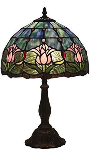 LYEJFF Tiffany Tulip Blumen Tischlampen Barock Buntglas-Schreibtisch-Lampe für Wohnzimmer Schlafzimmer Couchtisch Nachttischlampe