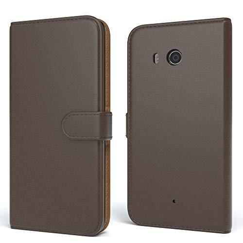EAZY CASE HTC One (M8) / (M8s) Hülle Bookstyle mit Standfunktion, Book-Style Case aufklappbar, Schutzhülle, Flipcase, Flipstyle, Flipcover mit 2 Kartenfächern aus Kunstleder, Braun
