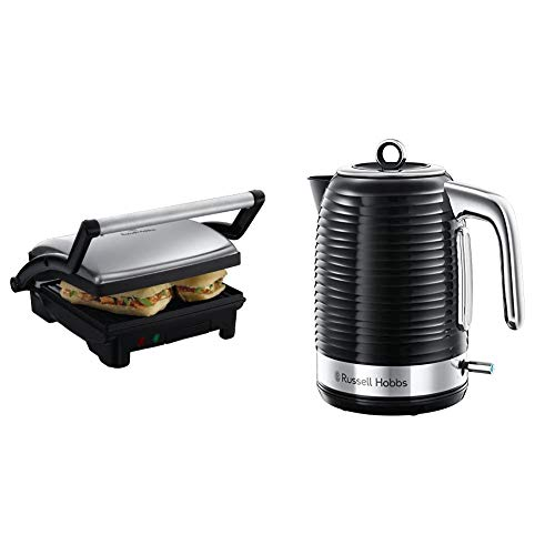 Russell Hobbs 3-in-1 Panini Press, Grill and Griddle 17888, Stainless Steel & Hobbs 24361 Inspire Electric Fast Boil Kettle, 3000 W, 1.7 Litre, Black with Chrome Accents